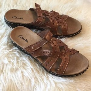 Clark's Brown Leather Sandals Size 8